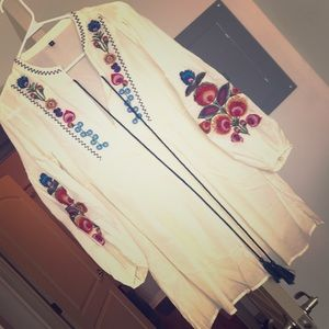 White Bohemian embroidered floral dress
